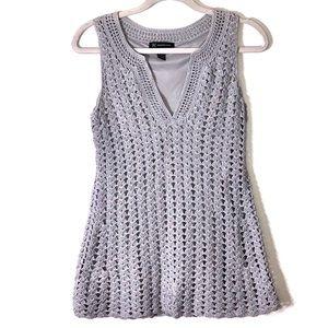 NWOT! Gray/ shimmering crochet sleeveless sweater